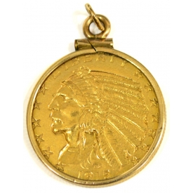 US $5 FIVE DOLLAR INDIAN HEAD HALF EAGLE GOLD COIN