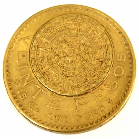 MEXICO 15 PESO 1918 GOLD COIN, 15 GRAMS GOLD
