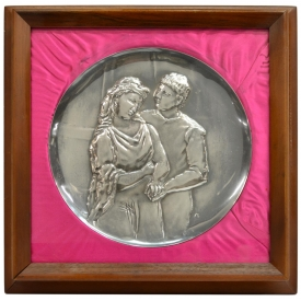 FRAMED STERLING PLATE, THE LOVERS, AFTER PICASSO