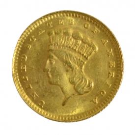 US 1868 INDIAN PRINCESS $1 ONE DOLLAR GOLD COIN