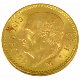 MEXICO FIVE PESO GOLD COIN