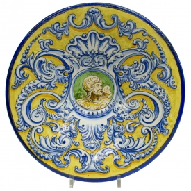 LARGE SPANISH MAJOLICA EMBLAZONED WALL CHARGER