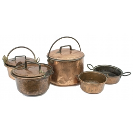 (5)  FRENCH COPPER & IRON COOKING CAULDRONS / POTS