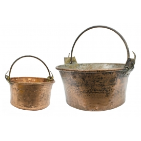 LARGE ANTIQUE FRENCH COPPER & IRON CAULDRONS