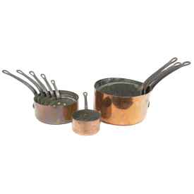 (9) ANTIQUE FRENCH COPPER & IRON COOKWARE