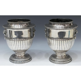 (2) ENGLISH SILVERPLATE URN CHAMPAGNE COOLERS
