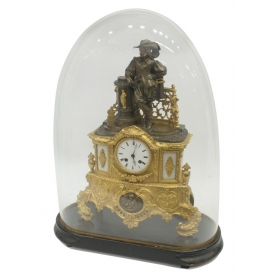 FRENCH FIGURAL MUSKETEER MANTLE CLOCK WITH DOME