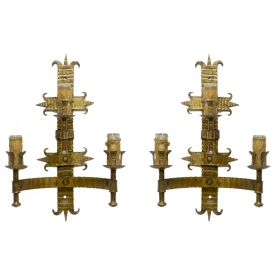(2) GOTHIC STYLE GILDED IRON WALL SCONCES, SPAIN
