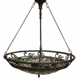 CONTINENTAL STAINED & LEADED GLASS HANGING LIGHT