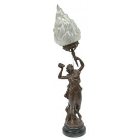 ANTIQUE PATINATED FEMALE BACCHANTE FIGURAL LAMP