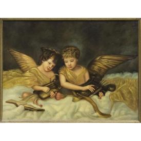 ELABORATE GILT FRAMED PAINTING ON CANVAS, ANGELS