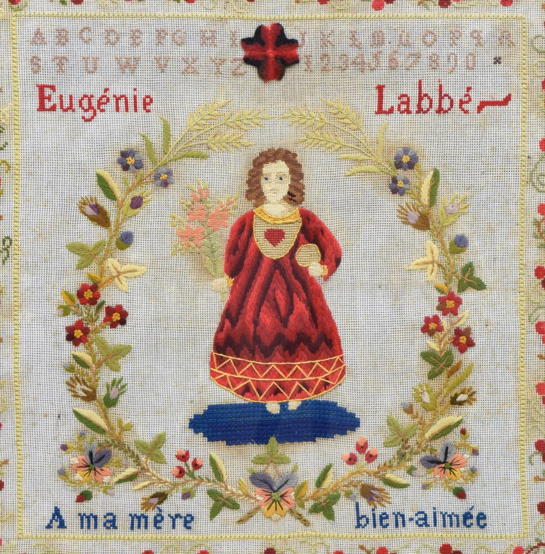 French Signed Figural Needlepoint Embroidery Day 2 Spain France