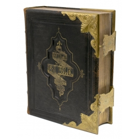 ILLUSTRATED FAMILY BIBLE LEATHER & BRASS BINDING