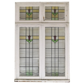 LARGE LATE VICTORIAN STAINED LEADED GLASS WINDOW