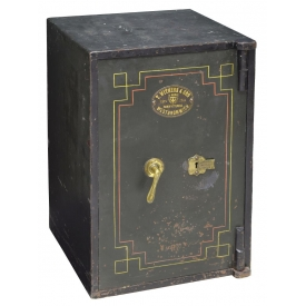 ENGLISH T WITHERS & SON PAINTED IRON KEY LOCK SAFE