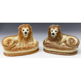 (PAIR) ENGLISH STAFFORDSHIRE LION MANTLE FIGURES