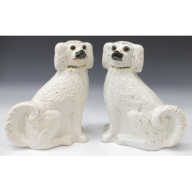 (PAIR) ENGLISH STAFFORDSHIRE GLASS EYE MANTLE DOGS