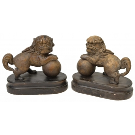 (2) PAINTED CERAMIC FIGURAL FOO DOGS SCULPTURES