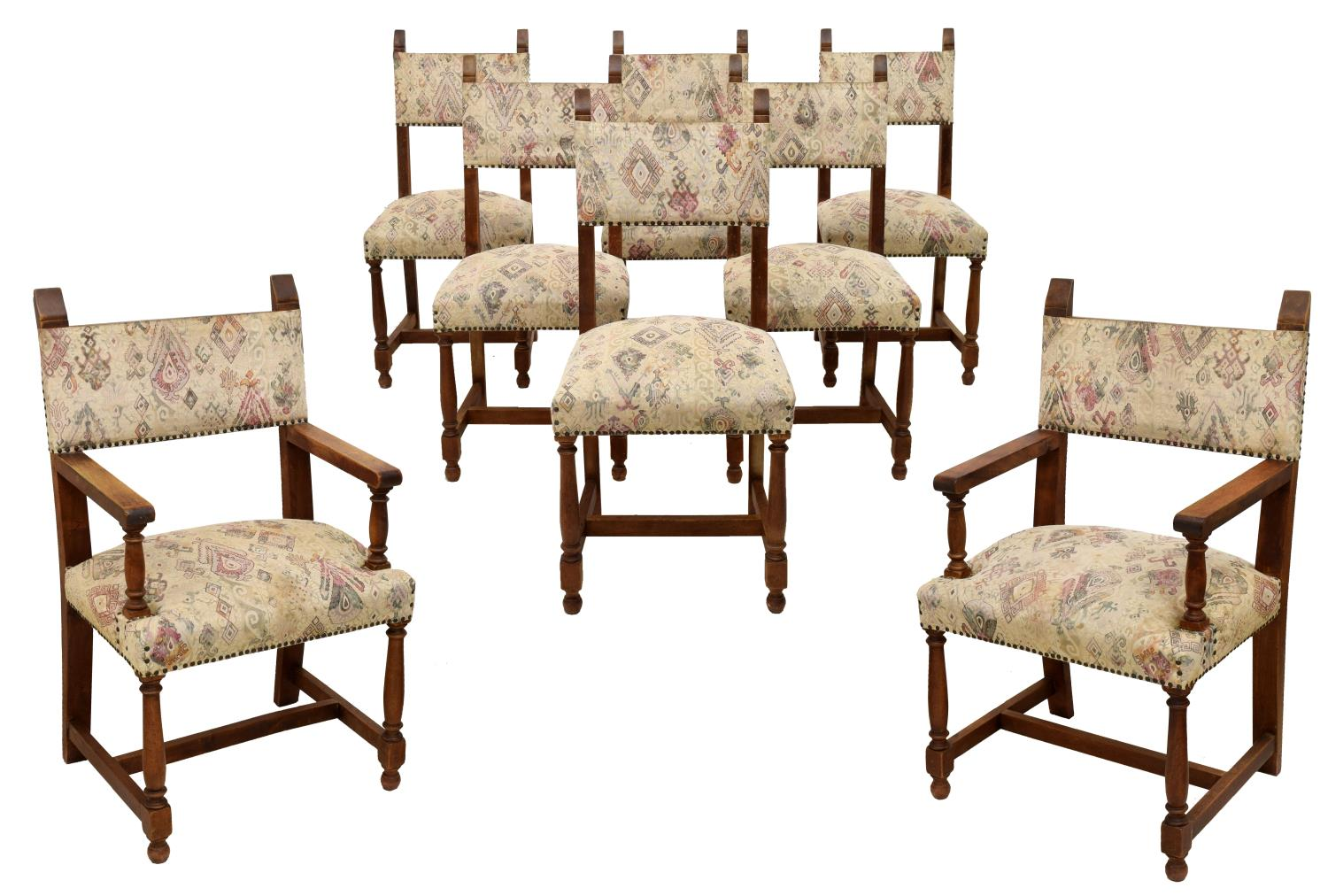 8 spanish baroque style oak arm dining chairs for Baroque style dining chairs