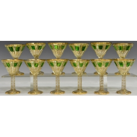 (12) BOHEMIAN GLASS MOSER STYLE GILDED STEMWARE