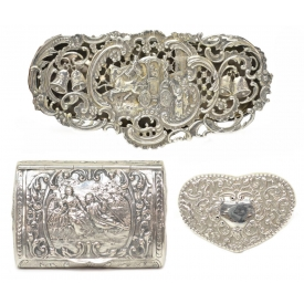 (3) COLLECTION REPOUSSE STERLING & SILVER BOXES