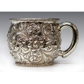 THEODORE B. STARK REPOUSSE FLORAL STERLING CUP
