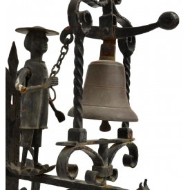 CONTINENTAL FIGURAL CAST IRON & BRONZE BELL,19TH C