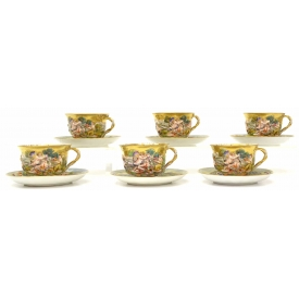 (12) CAPODIMONTE ARMORIAL DECORATED CUPS & SAUCERS