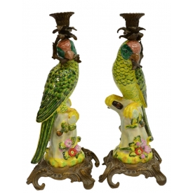 (2) DECORATIVE LOUIS XV STYLE PARROT CANDLEHOLDERS