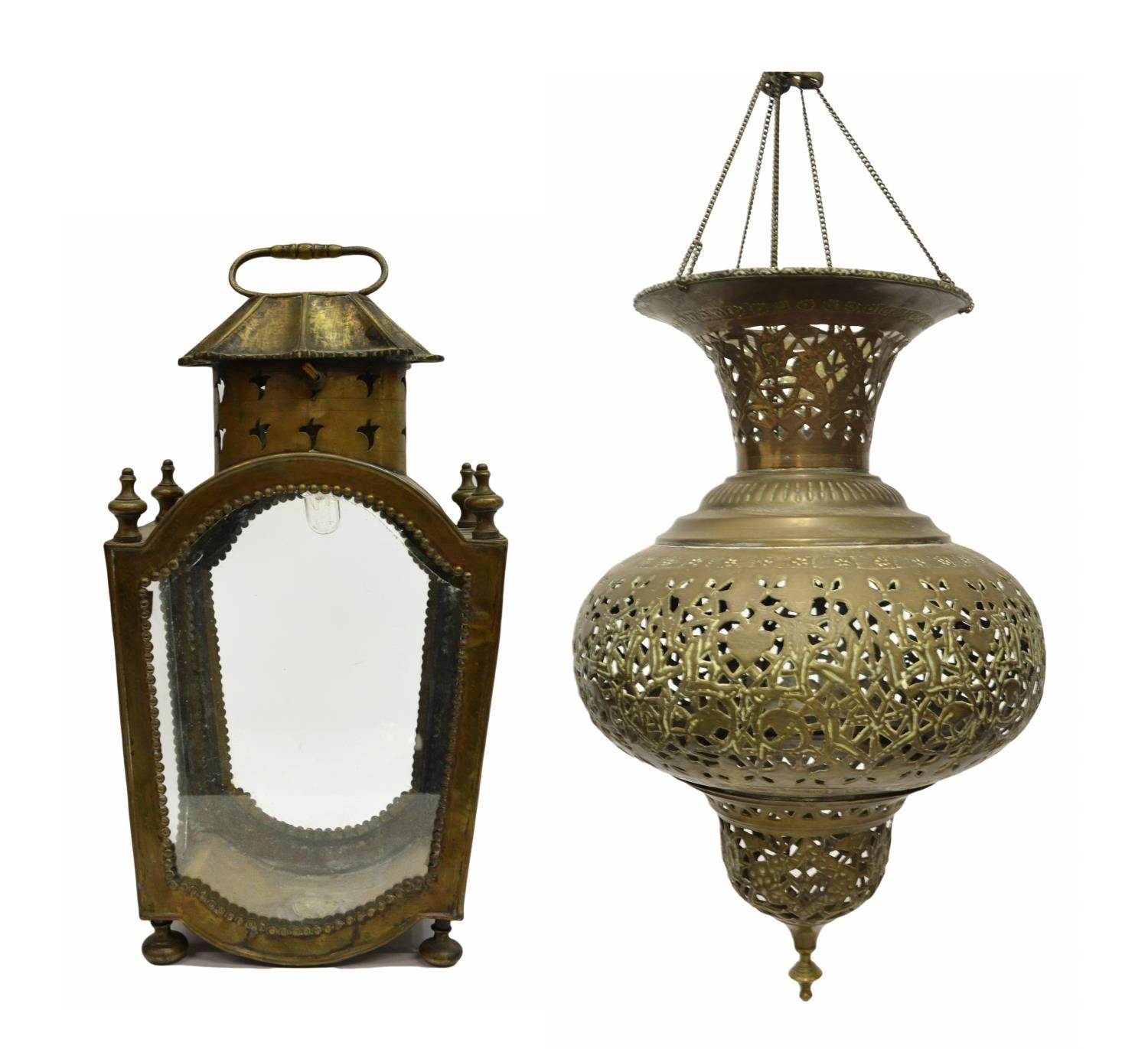 (2) PIERCED HANGING LAMP & GILT METAL LANTERN