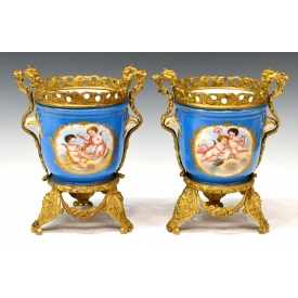 (2) SEVRES STYLE GILT MOUNTED CACHEPOTS, DUFRUIS