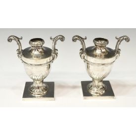 (2) 19TH C. NAPLES ITALY .834 SILVER FOLIATED URNS