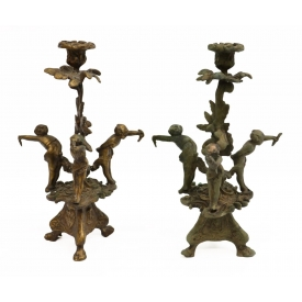 (PAIR) FRENCH STYLE GILT BRONZE CANDLESTICKS