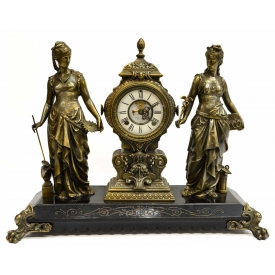 ANSONIA INDUSTRIAL & ARTS FIGURAL MANTLE CLOCK
