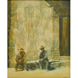 JACK BARBER, TEXAS, TWO MEN RESTING, PAINTING