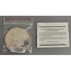 ONE TROY POUND PROOF SILVER EAGLE, .999 SILVER