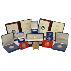 (13) COINS & COMMEMORATIVE MEDALS, SOME SILVER