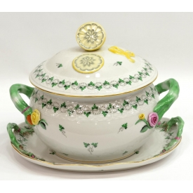 (2) HEREND PARSIL PORCELAIN TUREEN & UNDERPLATE