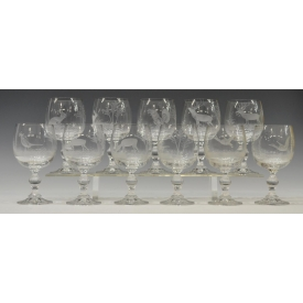(11) COLORLESS ETCHED STAG, RABBIT & BIRD GOBLETS