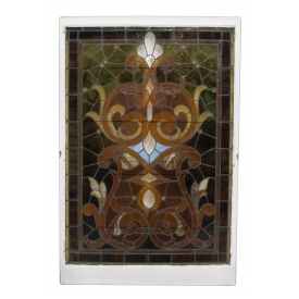 LARGE STAINED LEADED GLASS WINDOW