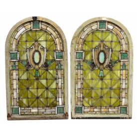(2) MATCHING STAINED LEADED GLASS WINDOWS