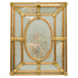 LARGE VENETIAN ART GLASS FLORAL WALL MIRROR