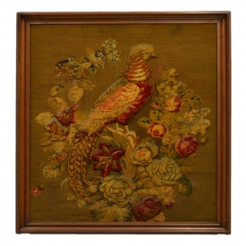 VICTORIAN RAISED TAPESTRY BIRD WALL HANGING SCREEN