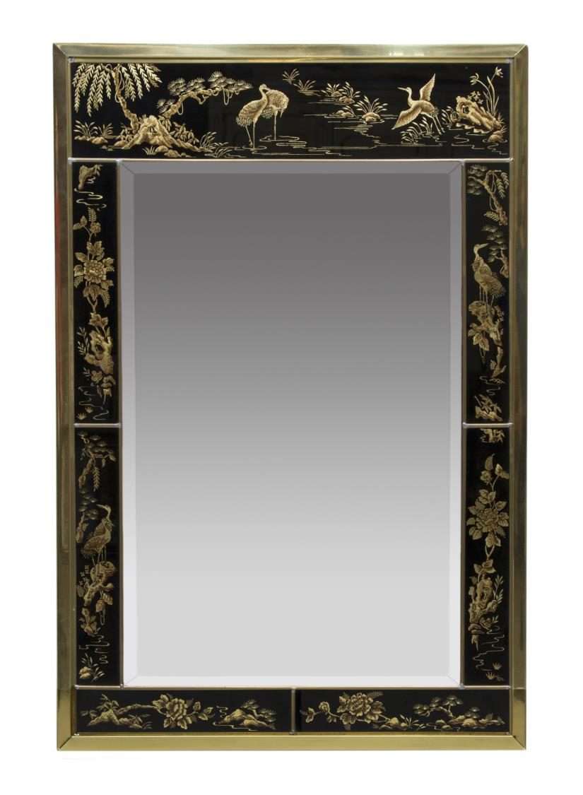 Drexel asian style parcel gilt beveled wall mirror for Asian style mirror