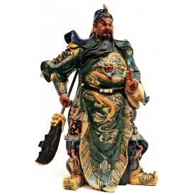 LARGE CHINESE GLAZED CERAMIC FIGURE, GUAN GONG