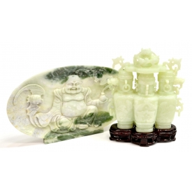 (2) CHINESE JADE CONJOINED URNS & HARDSTONE PLAQUE