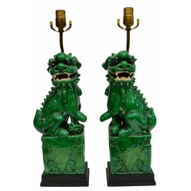 (PAIR) CHINESE PORCELAIN FOO LION LAMPS