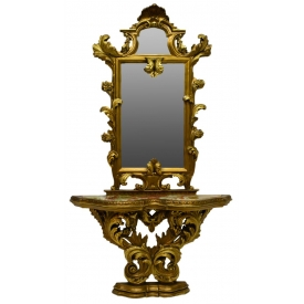 ITALIAN GILTWOOD LOUIS XIV STYLE CONSOLE & MIRROR