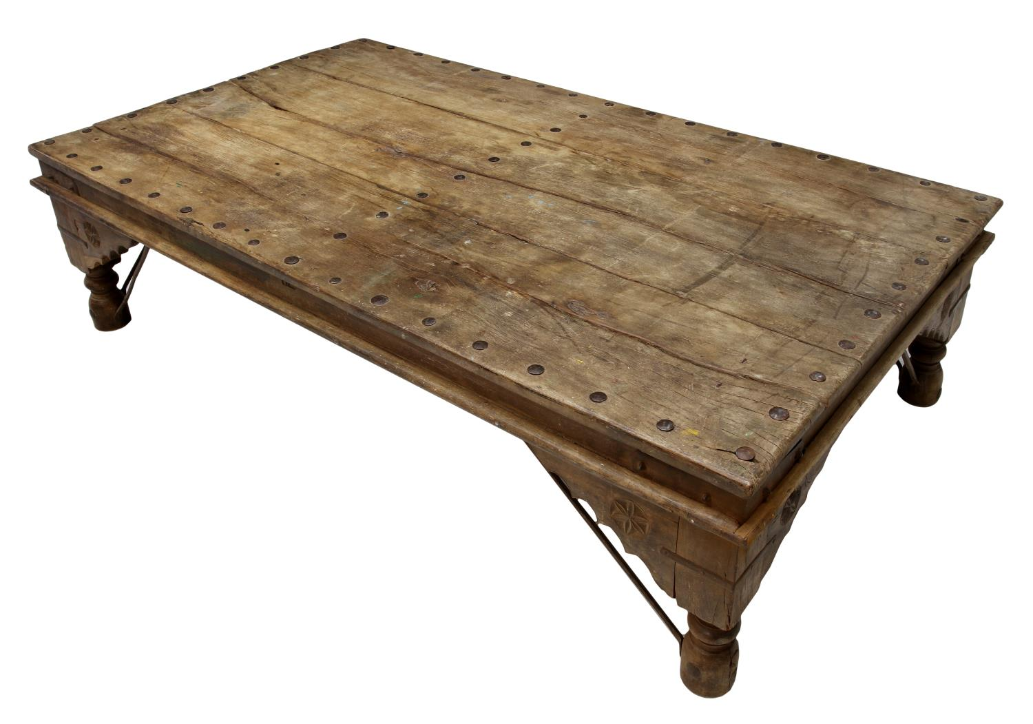 Large rustic iron accented coffee table italian antiques design art firearms estates Rustic iron coffee table