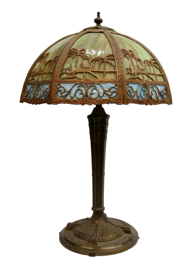 American slag glass shade lamp palm tree frame for Lamp shades austin